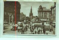 Single deck bus Waterloo Place Princes St Edinburgh 1934 Valentine's postcard