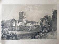 Antique The South Side of Church & Cloisters of Fountains Print York. Published