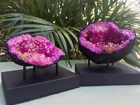 Large Pink Geode Pair W/Stands Crystal Geode Quartz Specimen Dyed Morocco Geode