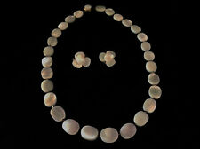Magnificent Art Deco Necklace Set Abalone Matching Earrings Clasp Japan