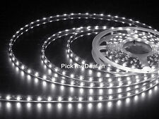 WHITE WATERPROOF 5 meter 3528 LED STRIP WITH 12v ADAPTOR 230v AC DECORATION