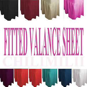 Plain Dyed Fitted Valance Bed Sheet Poly-Cotton Sizes Single Double & King