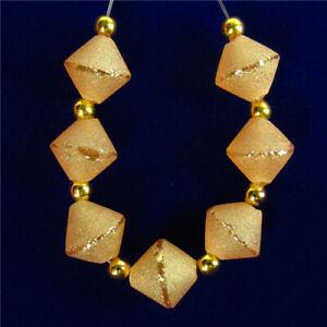 7Pcs/Set Orange Titanium crystal  Diamond Pendant Bead 10x10mm F86456