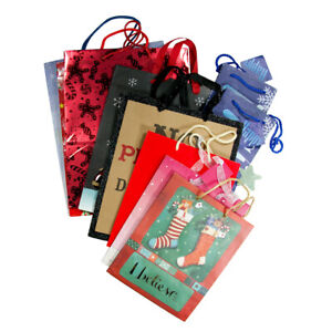 Christmas Holiday Paper Gift Bag Present Tote Medium Choice of Packaging Design