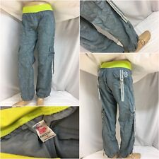Zumba Pants M Gray Nylon Jogger Neon Waist Band Marvelous Worn Once YGI 9648