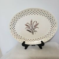 VTG-Golden Wheat Plate Homer Laughlin Fleur de lis USA Gold 12' Platter