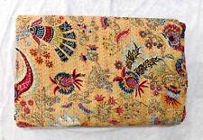 kantha Quilt King Print Beige Indian Cotton Handmade Bedspread Twin Gudari