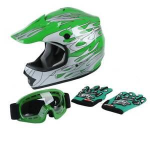Youth Kids Green Off-Road Full Face Helmet Goggles Boy Girls Children Snowmobile
