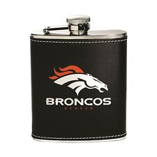 Denver Broncos Stainless Steel Flask [NEW] NFL Leather Drink Tailgate
