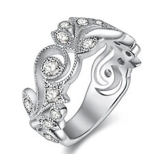 Cz 10k White Gold Plated Sz 6 Wedding Band Engagement Ring For Women Round White