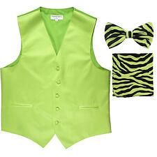 New Men's Formal Vest Tuxedo Waistcoat green ZEBRA Bowtie & Hankie set wedding