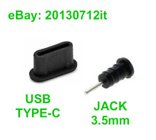 Anti Dust Plug Set USB Type-C + Jack 3.5mm Silicone Black for Huawei P9 P10 P20