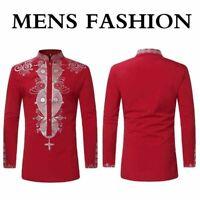 African Tribal Men Dashiki Print Succinct Shirt Hippie Casual Tee Top T-shirt