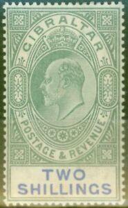 Gibraltar 1903 2s Green & Blue SG52 Fine & Fresh Lightly Mtd Mint (6)