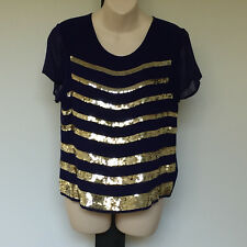 'TOPSHOP' BNWT SIZE '10' BLUE & WHITE LINED GOLD SEQUINED CAP SLEEVE TOP