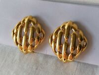 Vintage Gold Tone Woven Textured 80s Geometric Statement Bold Clip On Earrings