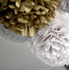 24 tissue paper pom poms set - 3 sizes - wedding party decorations - multi color