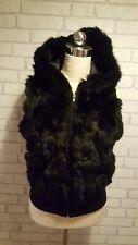 Rene Derhy Ladies Black Rabbit Fur Knitted Trim Hooded Waistcoat Gilet Small