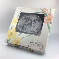 Vintage 1989 Crystal Clear Studios Narcissus Serving Platter Etched Daffodils