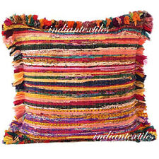 """INDIAN COTTON HANDMADE 16X16"""" INCHES RUG VINTAGE RAG PILLOW CHINDI CUSHION COVER"""