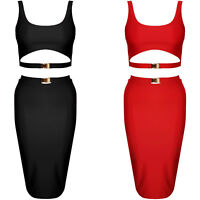Cut Out Gold Buckle Crop Top & Pencil Skirt Two Piece Co Ord Set Bodycon Dress