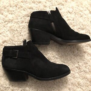 Eileen Fisher Closed Toe Black Suede Ankle Booties Boots Shoes Zip Buckle Size 7