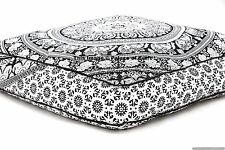 Indian Square Floor Pillow Cover Elephant Mandala Pouf  Cushion Case Dog Pet Bed