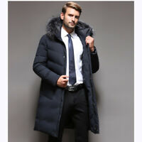Winter Men's Puffer Jacket Outwear Duck Down Fur Collar Jacket Warm Parka Thick