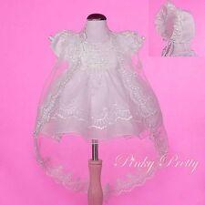 Beaded Baptism Christening Dress Cape Bonnet Wedding Ivory Baby Girl 12-18m #008