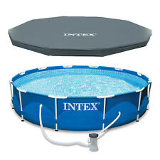 "Intex 12' x 30"" Metal Frame Set Above Ground Swimming Pool with Filter & Cover"