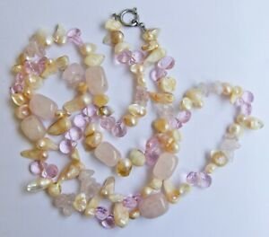 #67 Handmade Long Necklace Pink Rose Quartz Stone Glass Beads Mother of Pearl