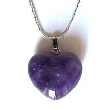 "Amethyst Crystal Heart Pendant 25mm with 20"" Silver Necklace Meditation"