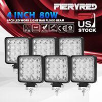 6PCS Square LED Work Light Bar 4 Inch 80W Flood Beam Offroad Driving Lights Pods