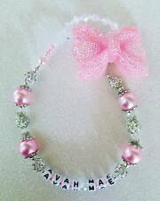 romany Swavorski and rhinestones Bling Personalised pink bow  Dummy Clip holder