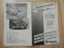 Catalogue Accessoires Peugeot 203 TUPAC a St DIZIER ( 52 ) + Tarif 1957