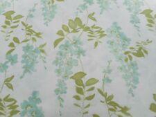 Sanderson Tessuto per Tende 'GLICINE Blossom' 3 METRI Aqua/Lime-Cotone