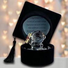 Graduation Teddy Gift Keepsake Crystal Bear Ornament Congratulations Message Box
