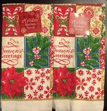 Set Of 2 Family Christmas Holiday Poinsettia Kitchen Dish Hand Tea Towels
