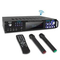 Pyle Bluetooth Home Amplifier Receiver & Microphone System Hybrid Pre-Amplifier