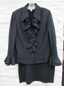 St. John Black Santana Knit Ruffle Front Jacket & Straight Skirt Suit 12 14