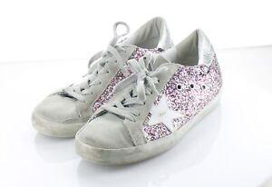 31-14  $560 Women's Sz 39 M Golden Goose Midstar Glitter & Suede Sneaker - Pink