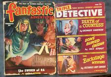 Lot of 2 Pulp Magazines FANTASTIC ADVENTURES Feb 1951 TRIPLE DETECTIVE Spring 51