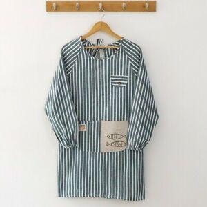 Cotton Linen Apron Stripe Long Sleeve Cooking Baking Kitchen Chef Pocket