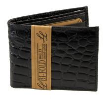 Mens Bifold Leather Wallet Alligator Crocodile Print Zipper Cards ID  Black