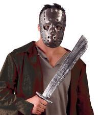 Adults Friday 13th Jason Mask & Machete Costume Mens Fancy Dress Halloween NEW