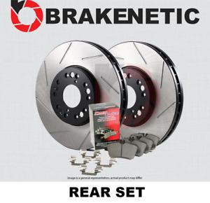 [REAR] BRAKENETIC PREMIUM SLOTTED Brake Rotors+POSI QUIET Ceramic Pads BPK73130