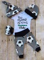 US Newborn Infant Baby Boy Casual Top Romper Pants Beanie Hat Outfit Clothes Set