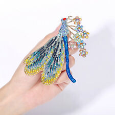 Dragonfly Animal Brooch Pin Women Blue Crystal Flower Gold Tone Party Gift
