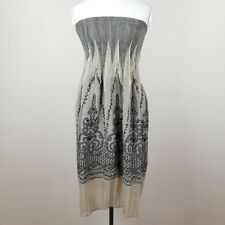 Max Edition One Size Dress Beige Black Damask Sleeveless Fit & Flare