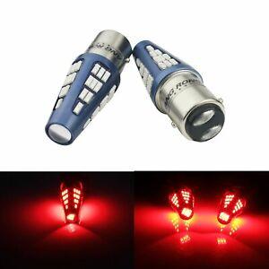 2x P21/5W BAY15D 1157 Ampoules LED 48 SMD Rouge feux Position Stop Veilleuse DRL